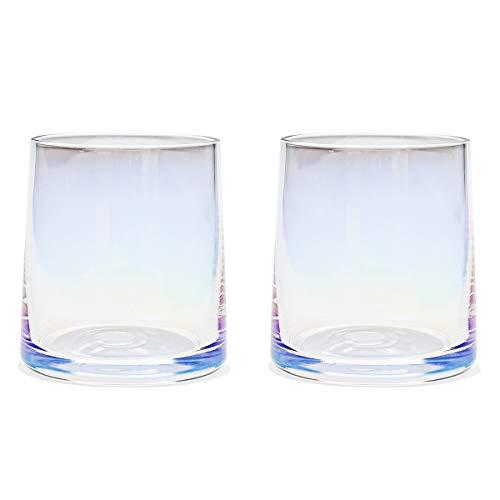 AIKASA Whiskey Glazen Set van 2, Kan gebruikt worden als Juice Cup, Ice Cream Cup, Cocktail Cup (250 ml) One Size Kleurrijk