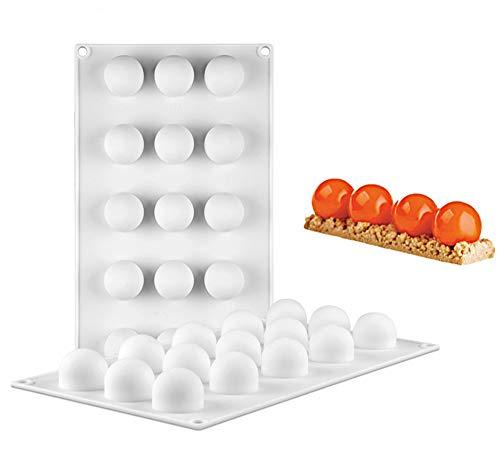 Stampo per Torta in Silicone, 15 Cavità Forma Semisfera, Stampo per Dolci e Cioccolato, Stampo per Torta per Mousse, Stampi per Cottura a Motivi, per Gelato Muffin Biscotti Gelatina
