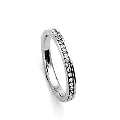 Signore-Signori® Eternidad 18k Anillo de Dedo Oro Blanco Plateado salpicada de Hecho con Swarovski Elements Cubic Zircon Crystal
