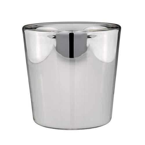 kleine Silberglas Bauernsilber Deko Glas Blumen-Vase Ø 18 cm - feinste Handarbeit - auch als Übertopf verwendbar