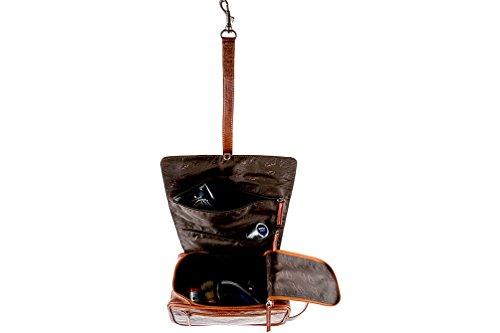 Alpenleer Toilettas, rolbaar ophangen, echt leer, bruin-zwart