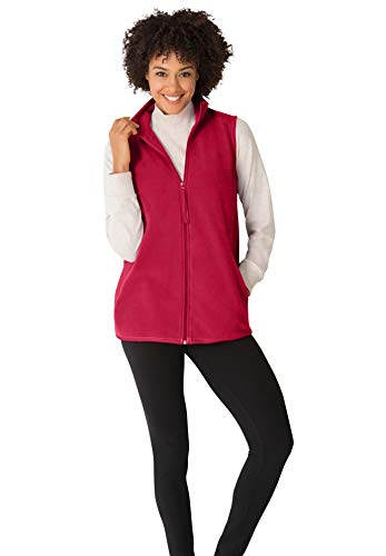 Woman Within Women's Plus Size Zip-Front Microfleece Vest - 1X, Classic Red