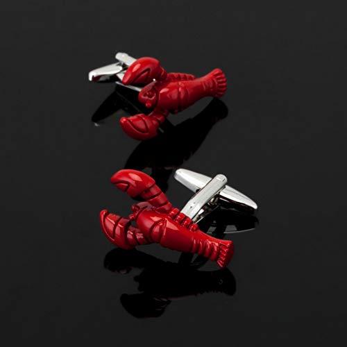 ZXWDL Manchetknopen voor heren, met rode lobby, diermotief, 3 dubbele zouten