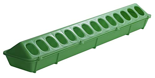 Little Giant Plastic Flip-Top Poultry Feeder (20-inch) Heavy Duty Plastic Feeding Tray with Holes (Lime Green) (Item No. 820LIMEGREEN)
