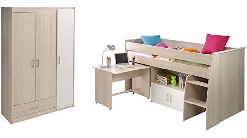 Charly Parisot Hochbett Set 6 mit Schreibtisch, Kommode und Kleiderschrankchrank