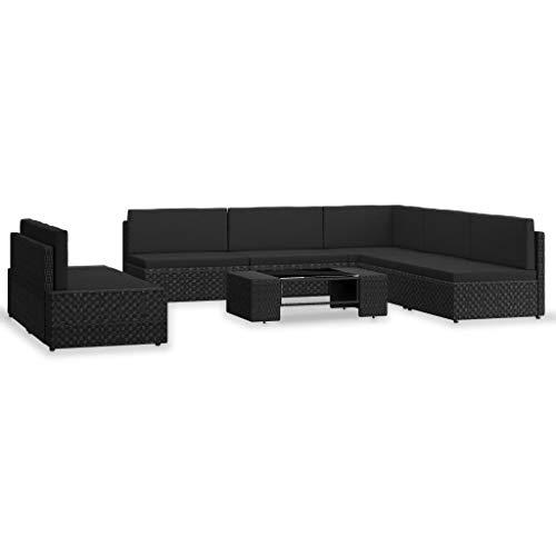 vidaXL - Salón de jardín de 7 piezas, muebles de terraza, muebles de patio, muebles de jardín, muebles de exterior, parte trasera de resina, trenzada, color negro
