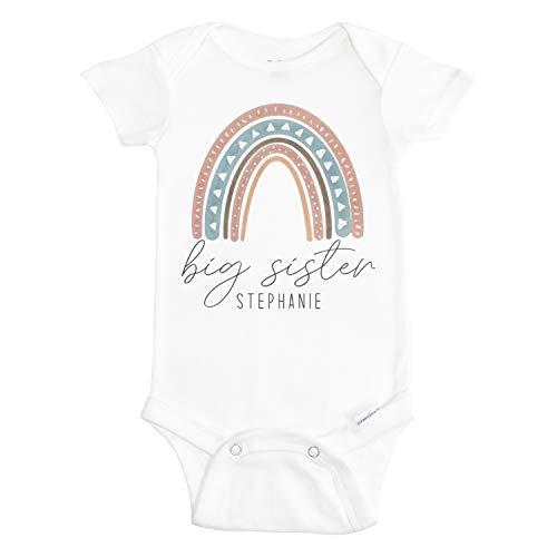 Big Sister Baby Onesie - Big Sister Onesie for Baby Girl - Baby Girl Bodysuit - Rainbow Onesie for Big Sister - Personalized Onesie with Rainbow - Rainbow Outfit for Baby Girl - Baby Shower Onesie