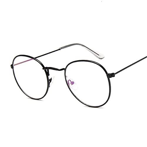 FEIHAIYANY Gafas de sol para mujer, redondas, transparentes, montura de gafas falsas para hombre y mujer, gafas de miopía óptica, retro, marco de gafas retro para mujer (color del marco: negro Trans)