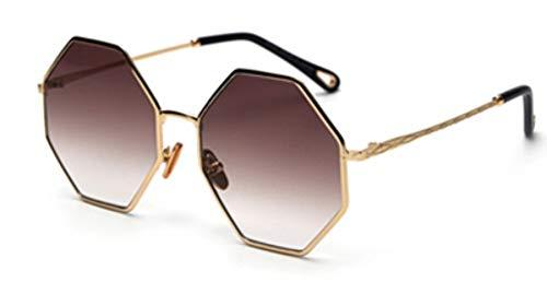 MINGMOU Große Achteckige Sonnenbrille Frau TrendGold Schwarz Verlauf Übergroße Sonnenbrille Für Männer Vintage Uv400 Polygon, 3