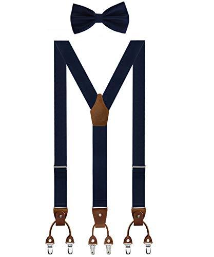 Aissy Herren Hosenträger mit Fliege Set 3 WAY TO WEAR Neue Version 3.5cm Y-Form Elastisch und Längenverstellbar Hosenträger für Herren und Damen 3 WAY GBlau K