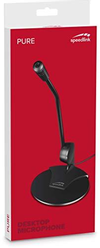 Trust Asto Soundbar Lautsprecher (für PC und TV-Gerät) & Speedlink Pure Desktop Voice Microphone - Tischmikrofon mit Klinkenstecker für Büro, Podcasts, Gaming, schwarz