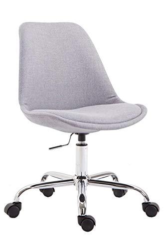 CLP Bürostuhl Toulouse mit Stoffbezug | Schreibtischstuhl mit Laufrollen | Drehstuhl mit Metallgestell in Chrom-Optik | Mit Farbwahl, Farbe:grau
