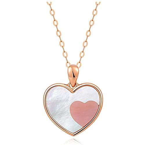 GQGQ En Forma De Corazón Oro 18K Colgante Collar Concha Rosa Colgante para Mujeres Multa Joyería con Caja De Regalo