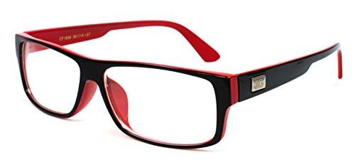 Newbee Fashion -'Kayden' Retro Unisex Plastic Fashion Clear Lens Glasses