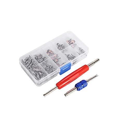 102pcs Herramienta de extracción de núcleo de válvula, kit de accesorios de núcleo de válvula de aire acondicionado Surtido A/C R134a/R12 Kit de herramientas de núcleos de vástago de válvula de neumát