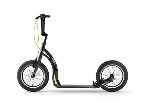 Yedoo Friday Tretroller - bis 150 kg, mit Luftreifen 16/16 - Kickscooter für Erwachsene mit verstellbaren Lenker, Cityroller aus Aluminiumlegierung, Gewicht 7 kg, schwarz
