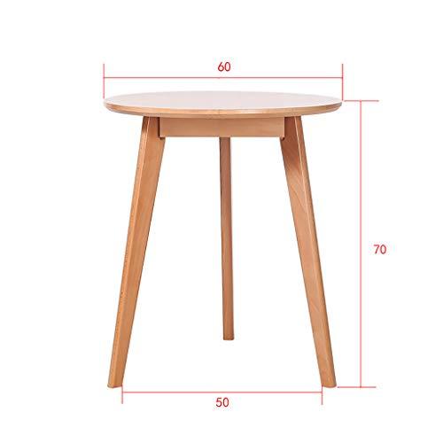 CTGM Table à Manger en Bois Massif Table à Manger de Style Nordique Table à Manger à Petite Table Ronde Table Ronde Simple et décontractée (Taille : 60 cm)
