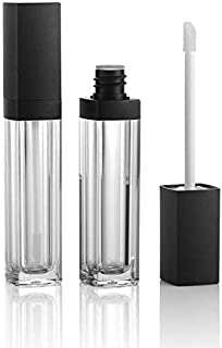 LASSUM 2 Pieces 5ml Empty Square Lip Gloss Tube Plastic Clear Lipstick Lip Balm Bottle Container with Lipbrush Black Cover for DIY Lip Refillable Makeup
