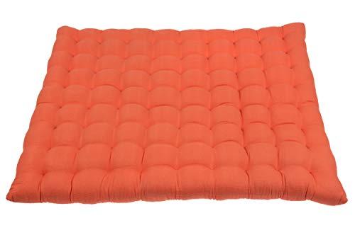 Zabuton matta (orange) bomull & kapok fyllning 85 x 65 cm