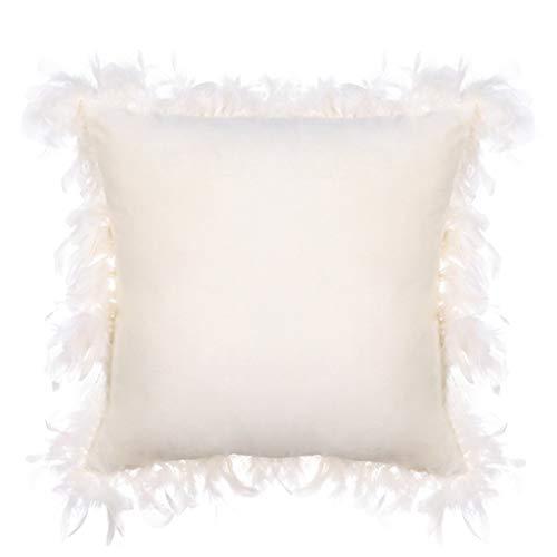 Funda de Almohada de Terciopelo para decoración del hogar, para sofá, Coche, etc, algodón, Beige, M