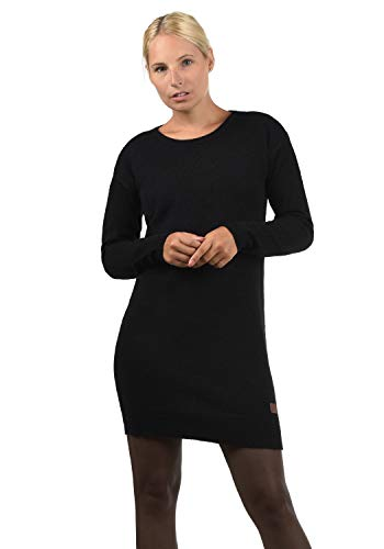 BlendShe Natti Damen Strickkleid Feinstrickkleid Kleid Mit Rundhals-Ausschnitt, Größe:M, Farbe:Black (70155)