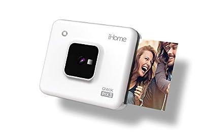 iHome Square 2-in-1 Instant Print Camera + Printer, Square 3x3 inch Printouts (White) (IHCP33-W) from iHome