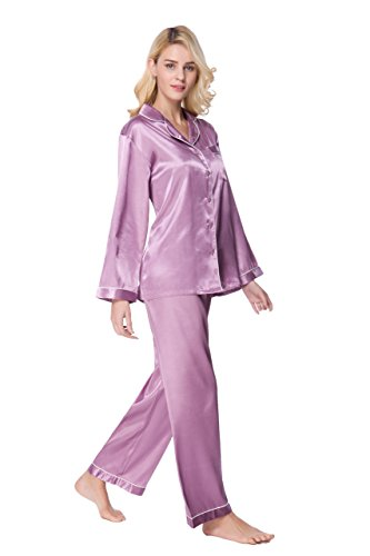 SunRise Women's Long Sleeve Premium Satin Pajama Set (XL, Light Purple)