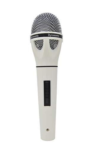 DYNASONIC - Microfono per Karaoke con adattatore incluso | Elimina il rumore per un suono pulito di qualità | Compatibile con DVD, Televisione, KTC Audio e dispositivi con entrata compatibile, Bianco