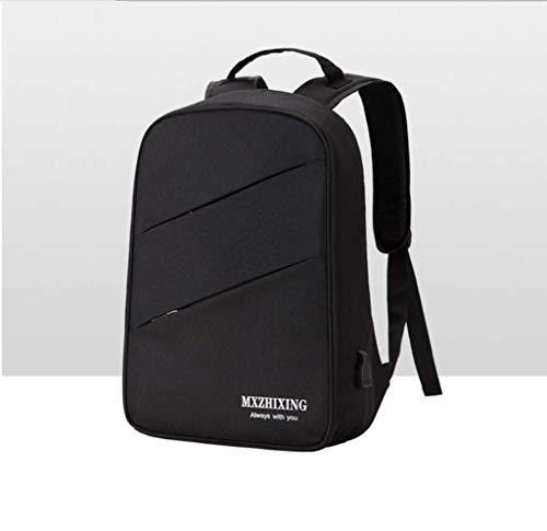Business einfache Schultertaschen-Modeschöpf-PHP-Taschen-Leinwand Multifunktion USB-Srucksack Männer und Frauen,Black