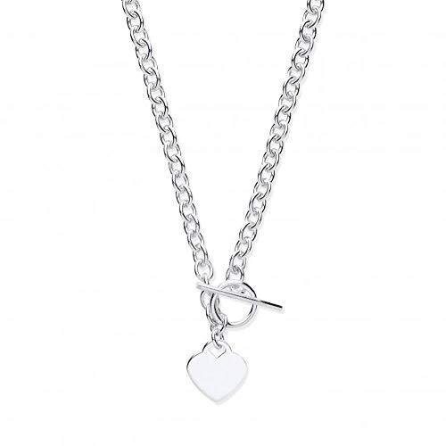 Genuine Sterling Silver Heart T-Bar Chain 18'