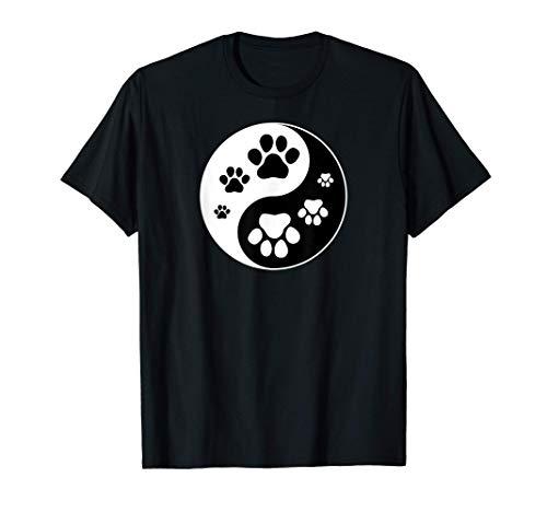 Yin Yang Huella de Perro Animal Mascota Gato Camiseta