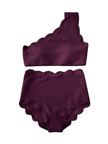 Onsoyours Costumi da Bagno Donna da Spiaggia Bikini Imbottito Halter Brasiliano Costumi Donna Mare Due Pezzi Cute Ruffles Flounce Elegante Tinta Unita Swimsuit Monospalla Viola 48