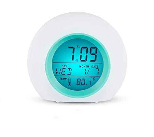 Reloj despertador luminoso infantil TKSTAR con LED que cambia de color, alarma, con luz de colores, alarma, despertador de viaje para la habitación de los niños
