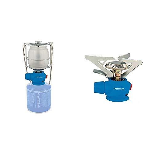 CAMPINGAZ Lumostar Plus PZ Lámpara con Gas, para Cartucho CV 470/Cv 300, Unisex, Azul + Twister Plus PZ - Cocina con Gas para Cartucho CV 470/Cv 300