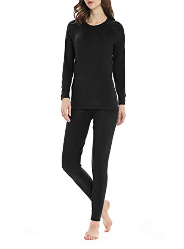 Thermal Underwear for Women, Fleece Lined Long Underwear Winter Base Layer Set Midweight Long John Black, Small