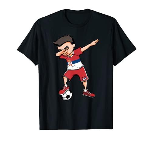 Dabbing Soccer Boy Serbien Fußball Fans Trikot Serbische Flagge T-Shirt