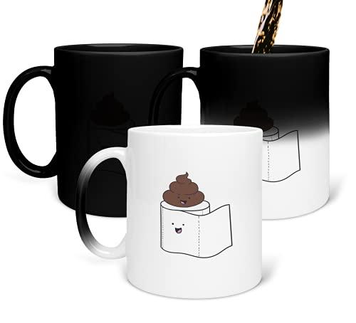 Taza de papel higiénico y popa en la parte superior que cambia de color, taza mágica para té y café, taza divertida, para oficina y hogar,...