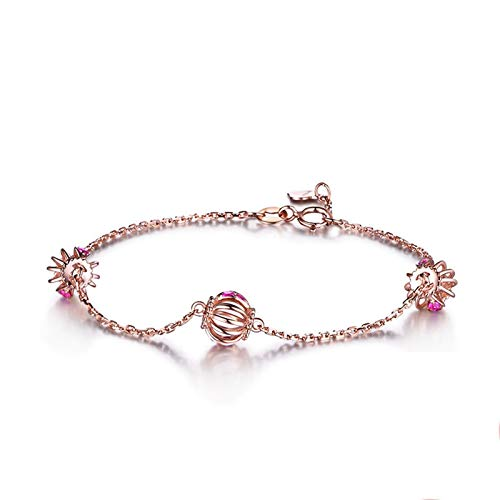 Amody Rose Gold Bracelet 18K for Women, Womens Bracelet Valentines Day Hollow Lantern Charms with Ruby Rose Gold