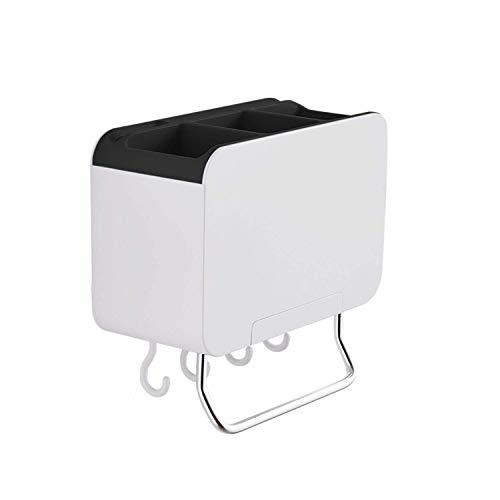 Pegado de cocina Almacenamiento Organizador Barra de barras Utensilio Stick en suspensión Montaje de pared, Negro Leyue (Color : Black)