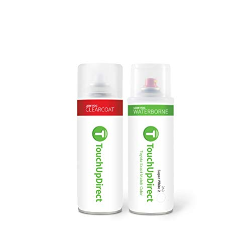 TouchUpDirect 040 Super White 2 Compatible with Toyota Exact Match Touch Up Paint Aerosol - Essential Package