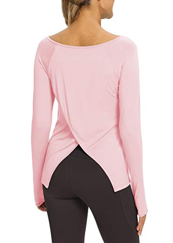 Mippo Womens Athletic Workout Long Sleeve T Shirts Flowy Yoga Tops Workout Clothes with Thumb Hole Loose Plain Boat Neck Womens Tunic Exercise Tops Pink S