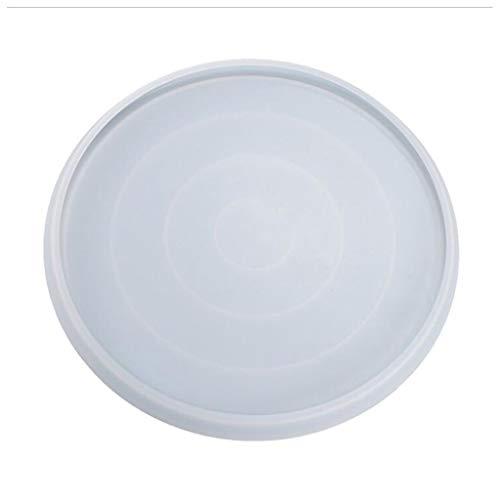 ZJL220 Bandeja redonda de resina epoxi de cristal, bandeja de espejo, molde de silicona, para manualidades, fabricación de joyas