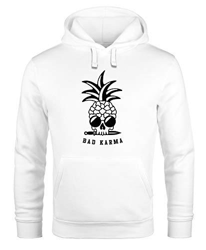 Neverless® Hoodie Herren Totenkopf Ananas Schriftzug Bad Karma Kapuzen-Pullover Männer Fashion Streetstyle weiß 4XL