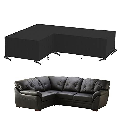 Sooair Funda de sofá Impermeable Fundas de sofá elásticas en Forma de L Funda de sofá Universal, Lavable/Antiácaros/Antiarrugas (Negro, 215 * 215 * 82 cm)