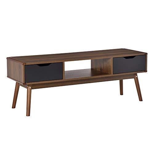 HOMCOM Mueble de TV Mesa de Salón para Televisión de 50 Pulgadas con 2 Cajones y Compartimento Abierto Estilo Moderno 122x39x46 cm Marrón