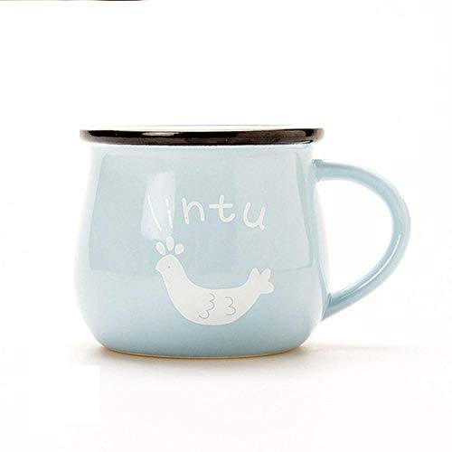 AOARR Getöpferte Tassen Cup 250Ml 350Ml Keramik Bunte Frühstücksbecher Mit Deckel Löffel Retro Kaffeetasse Kreative Milchbecher Schöne Geschenke-Light_Blue_Mug_250Ml