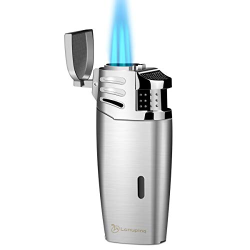 Larruping Torch Lighter Windproof Lighter Triple 3 Jet Flame Gas Butane Refillable Turbo Lighter with Punch and Butane Window(No Gas in It) (Silver)