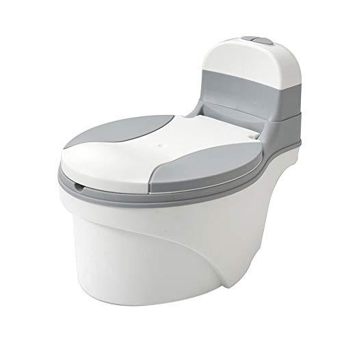 L-baby Toilette Mobile per Neonati, Imita Un Allenatore di Servizi igienici per Adulti, Realistica Toilette ad Acqua Potabile di Formazione vasino, con Storia/Musica Vasino Intelligente,Grigio