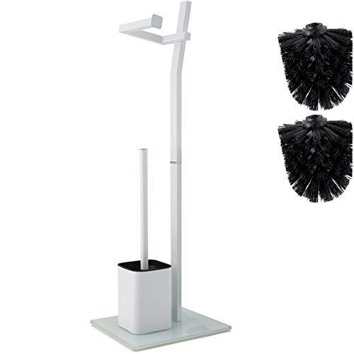smartpeas WC-Garnitur - Weiß – 22x18x70cm – Inkl. Klopapierhalter und Toilettenbürste – rostfreier Edelstahl – Standfuß aus Glas mit Klobürste – Plus: 1+2 Klobürstenköpfe zum Austauschen!