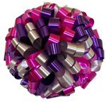 """Large Car Bow - 20"""" - Silver Hot Pink & Purple (Personalized)"""
